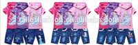 wholesale the most popular frozen elsa t-shirt tee with hood children jeans children's clothing set