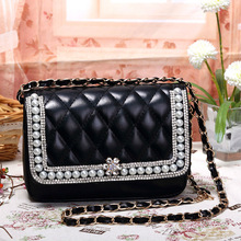 lady's strap satchel bag black bag handbag B-005