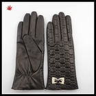 women wearing fashion black embroidery leather glove with bowknot