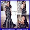 Ali-001 2014 novo tule preto scoop applique sereia vestido de manga comprida
