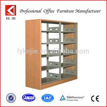 Wooden Frame Two-sided Double Column Wall Bookshelf Designs/wooden library bookshelf