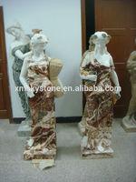 multicolor women marble sculpture