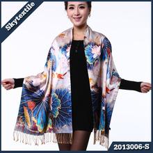 Colorful Silk Scarves OEM Printed Custom Scarf LAKE 2013006-S