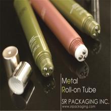 eye cream tube with triple metals roll-on applicator, gloss finishing
