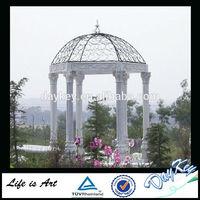Round Metal Top Stone Garden Gazebo For Sale wedding decoration White Marble Stone Garden Gazebo outdoor Metal Top