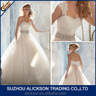 Ball Gown Lace Sweetheart Detachable Straps and Backless Long Train Alibaba Wedding Dress