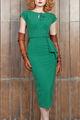 2014 nuovo arrivo donne eleganti senza tempo 40s celebrità verde bodycon ufficialmente partito ginocchio- lunghezza matita vestito vintage