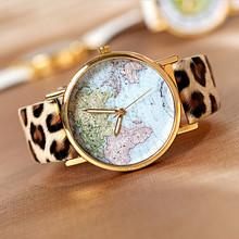 Hot Sale Gifts World Map Watch Fashion Leather Alloy Women Casual Analog Quartz Wrist Watch DW003