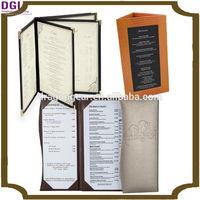 Leather 2 views Pocket Menu Cover, cheap fob price include menu printing