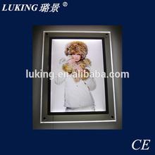 Wall mounted crystal slim advertising light box light frame