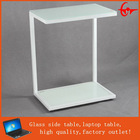 2014 New design - small multifunction tempered glass end table with wheeels modern simple desk