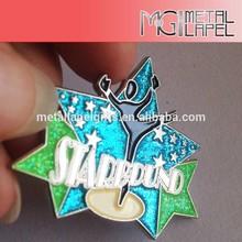 High Quality custom soft enamel flag design lapel pin/Surface glitter powder