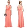 new arrivals 2014 maxi latest gown design pleated chiffon evening dress