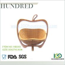 Eco-friendly folding bamboo fruit basket, cheap price and high quality bamboo fruit basket, apple shape bamboo fruit basket