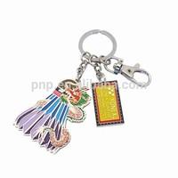 2015 hot sale innovative zinc alloy colorful enamel logo badminton combination keychain