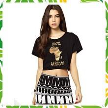 Reasonable Price Printed Crop Top T Shirt, 100% Cotton Women Crop Top