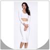 High quality white formal dress sexy 2 piece long sleeve bandage dress