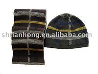 winter acrylic boy beanie hat and scarf