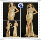 Newest Luxury Long Sleeve Gold Sexy Crystal Beaded Evening Dress 2014