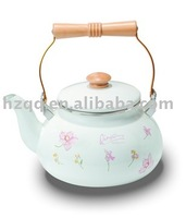 ENAMEL TEA KETTLE WITH DECAL AND WOODEN HANDLE -YH-2.4