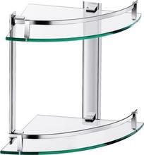 Aluminium double Glass shelf/corner shelf, bathroom shelf