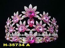 Fashion custom pageant crown,rhinestones flower crown for women