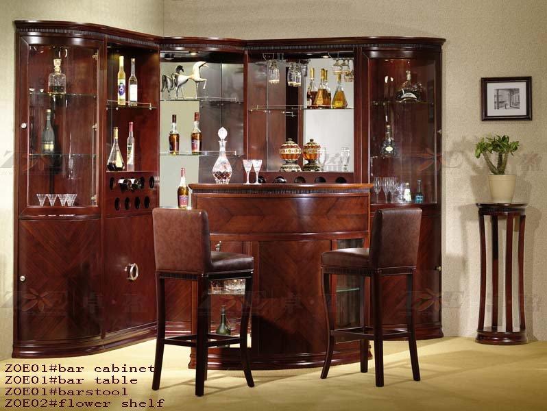 cl sico de madera de vidrio de un bar en casa para muebles