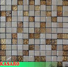 Carving Glass Mosaic Mix Ceramics Decorated For Kitchen, Glass Mosaic Ceramic Tiles for Kitchen Decoration KSL-C11035