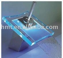 Single Handle Chrome Waterfall Bathroom Sink LED Basin Faucet Sanitary Ware