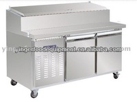 2-door stainless steel pizza table with fridge cabinet