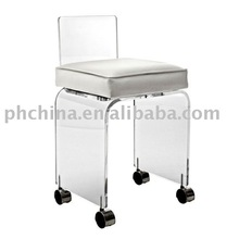 FW623 Clear Acrylic Swivel Vanity Chair With Cushion;Acrylic Vanity Chair With Wheels,Acylic Office Chair With CasterS