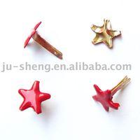red star shaped decorative metal brads