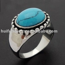 fashion imitation turquoise rings stainless steel