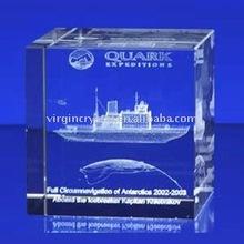 Optical Crystal 3D Laser Engraving Ship Model gift