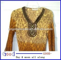 Cato's Brown/Tan Blouse w/Jeweled Neckline