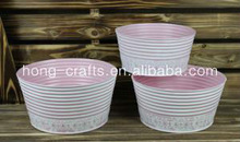 26/24/22cm! Round Shallow Cute Oriental Carved Indoor Metal Bowls/ Hot Pink Flower Pot/Zinc Garden Planters/Decorative Metal Tub