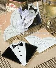 Wedding Favor Bride and Groom Glass Coaster wedding giveaway gift