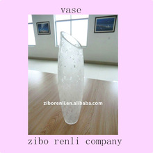 Personalized Design Slanted Mouth Patterned Oval Shaped Frosted Glass White Vases