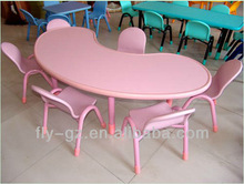 Adorable pink round plastic and metal kids study table and chairs set