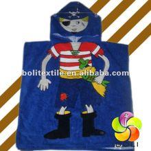 Pirate &animal kids hooded poncho towel printed
