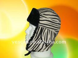 Zebra Stripe Trapper Hat Faux Fur