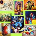 Decoración de hogar abstracta pinturas sobre lienzo/hermosas pinturas abstractas/abstracta lienzo pintado