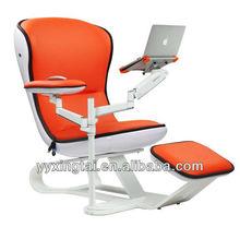DEMNI Orange comfy FRP ergonomic chaise lounge with ottoman