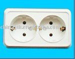 Double 2 pin socket outlet with security gate (protection)