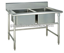 Kitchen wash table 2 sink water tank bench Restaurant hotel use