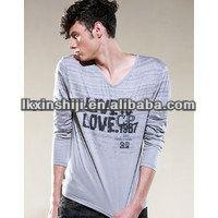 fashion 100% preshrunk cotton Couples V-neck T shirt