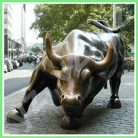 Large Brass Animal Statue Wall Street Bull BASN-F001