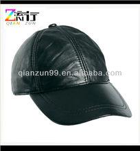 Mens Real Black Leather Baseball Caps