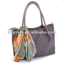 Fashion Hand Bag with Silk Scarf