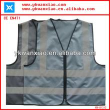 Black reflective safety vest with CE ,Black safety vest with Hi Vis ,Black reflective vest with zipper